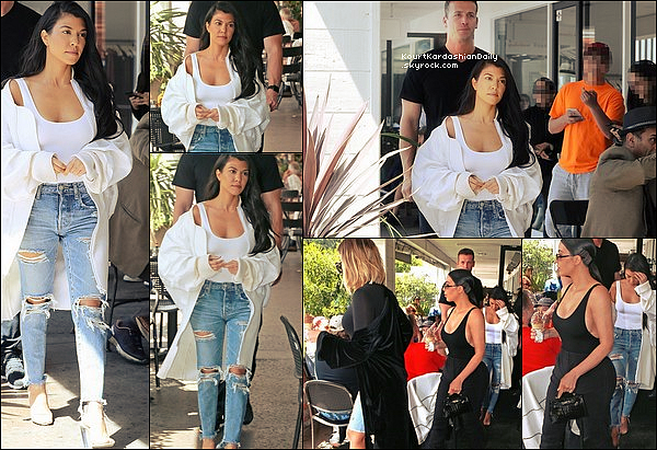 . o7/o4/2o17 : Kourtney, Kim & Khloé sont allées déjeuner à « Fabrocinis Restaurant »  - à Los Angeles. ● Kourtney porte un Body House of CB à 65¤, un Jeans Moussy Jeans & des Escarpins Yeezy .  .