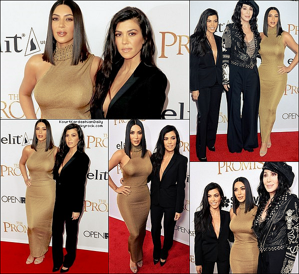 . 12/o4/2o17 : Kourtney & Kim sont allées à la Première de « The Promise » au « TCL Chinese Theatre » - à Hollywood. ● Kourtney porte une Veste Yves Saint-Laurent à 2290¤.  .
