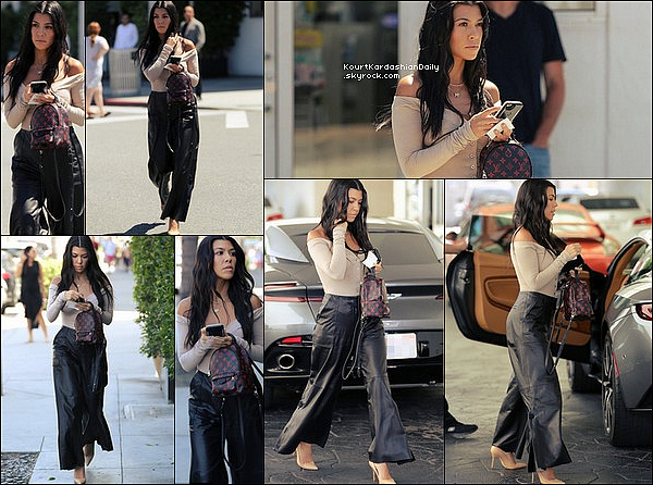. 16/o6/2o17 : Kourtney a été vue à la sortie d'un « Déjeuner au Restaurant » - à Beverly Hills. ● Kourtney porte un Sac Louis Vuitton à 1705¤, un Pantalon Hellessy à 2240¤ & des Escarpins Gianvito Rossi à 600¤.  .