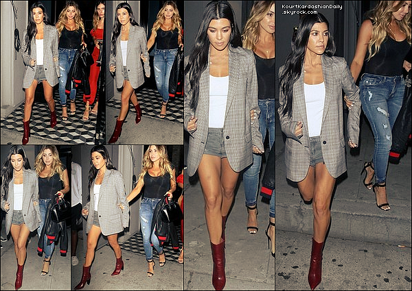 . 26/o7/2o17 : Kourtney & Larsa Pippen sont allées dîner à « Craig's Restaurant »  - à West Hollywood. ● Kourtney porte une Veste  Designer Remix à 395¤, un Body Wilfred à 40¤, un Short The Kooples à 150¤ & des Bottes Vetement à 1465¤.  .
