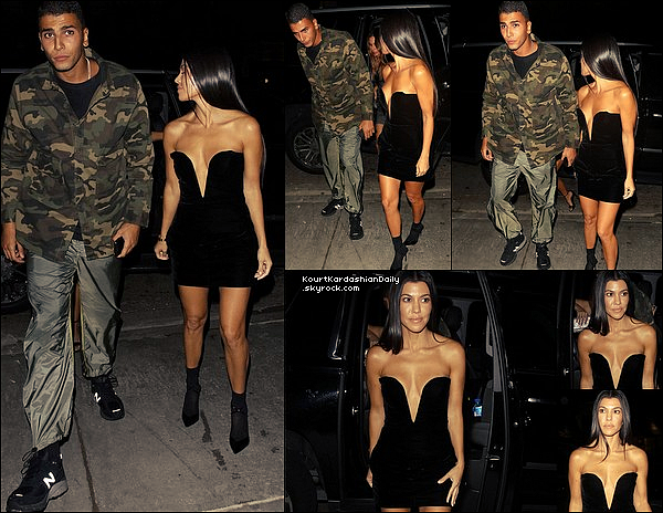 . 24/o8/2o17 : Le soir, Kourtney & Younes sont allés à « Poppies » - à Los Angeles. ● Kourtney porte une Robe Yves Saint-Laurent à 2215¤ & des Bottes Yves Saint-Laurent à 1075¤.  .