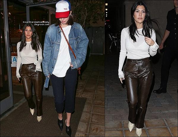 . o5/12/2o17 : Kourtney & Kendall sont allées « Dîner au Restaurant » - à Los Angeles.  ● Kourtney porte un Pull Helmut Lang à 195¤, un Pantalon R13 à 1685¤ & des Bottes  Yeezy.  .