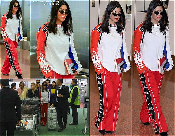 26/o2/2o18 : Kourtney, Kim & Khloé ont été vues au «  Haneda International Airport »  - à Tokyo.  ● Kourtney porte un Pantalon Faith Connection à 605¤, un Sac Louis Vuitton & des Chaussures Celine.