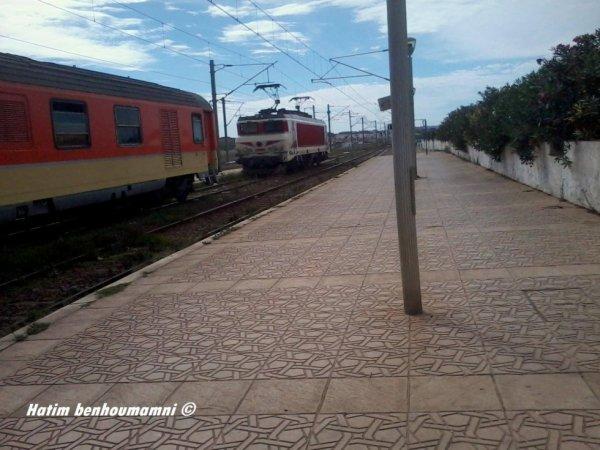 le train 303/183 de Tanger pour oujda avec la E-1308 en panne a Assilah le 29/09/2015