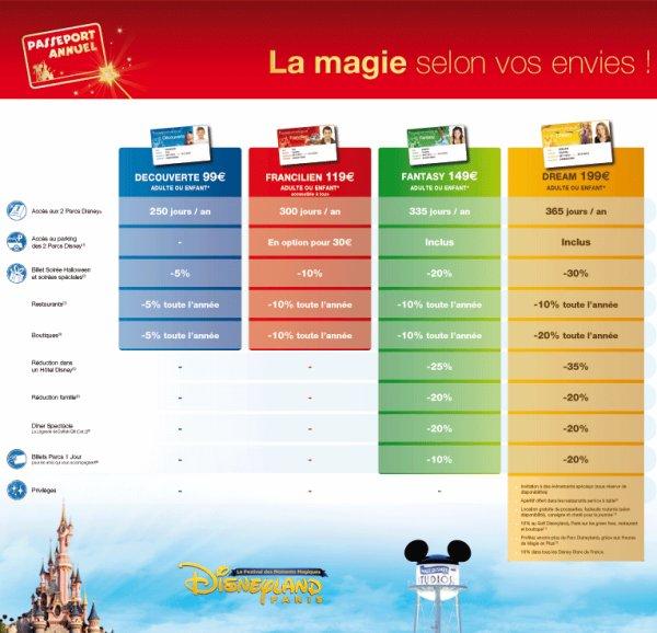 Les 4 passeports annuel disney et leur différents avantages