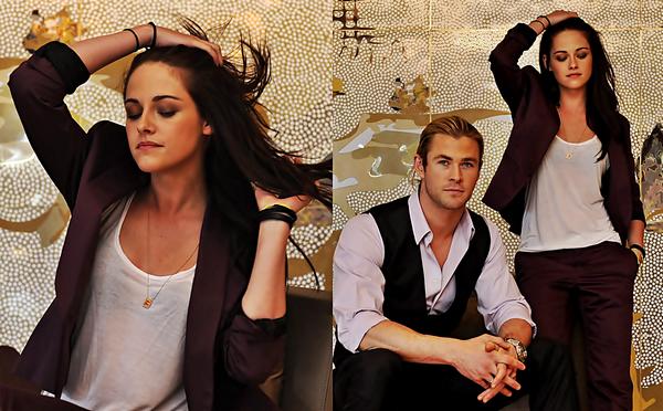 . PORTRAIT - Kristen, Chris et Rupert lors de la press Junket réalisé à Sydney. Kristen est vraiment très belle et sa tenue lui va à ravir. .