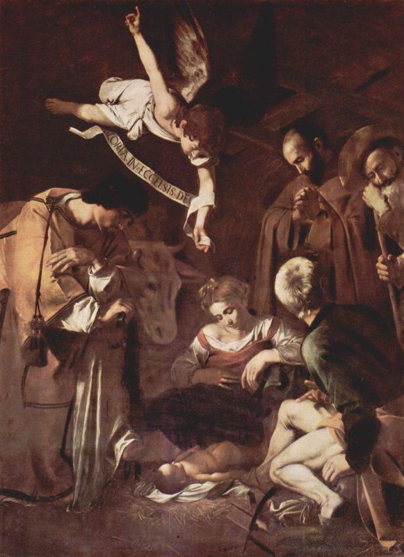 Le  Caravage, Nativité avec Saint François et Saint Laurent