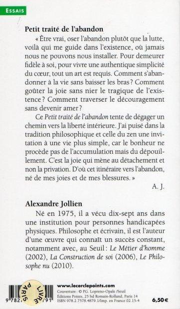 Alexandre Jollien :  Petit traité de l'abandon