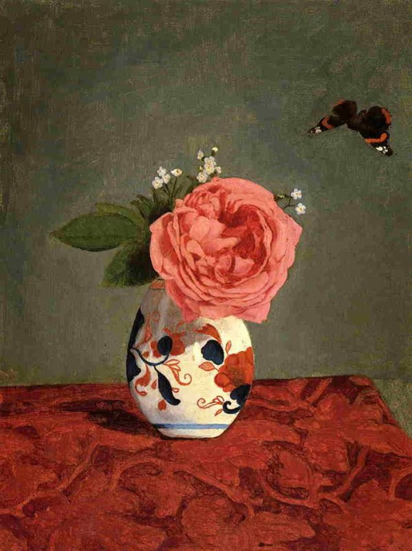 Caillebotte - Garden Rose and Blue Forget Me Nots in a Vase, 1878