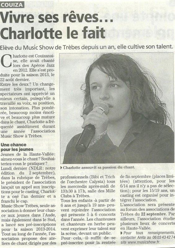 nouvel article qui m'est consacré dans le célèbre journal L'Indépendant (09/09/2013) !!!