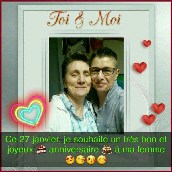 Je souhaite un bon et joyeux anniversaire à ma femme et j'espère pour quelques années ♡♡♡♡♡♡♡