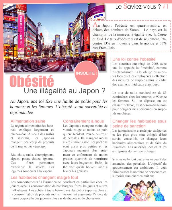 LE SAVIEZ-VOUS ? - L'obésité est illégale au Japon