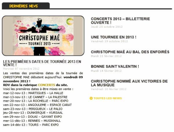 x Dernières News de Christophe Maé (:
