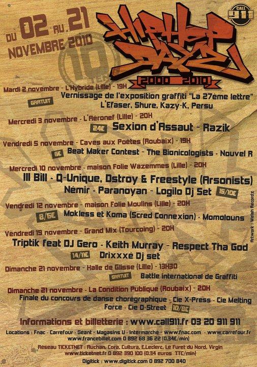 Hip Hop Dayz 10# du 2 au 21 novembre 2010 «