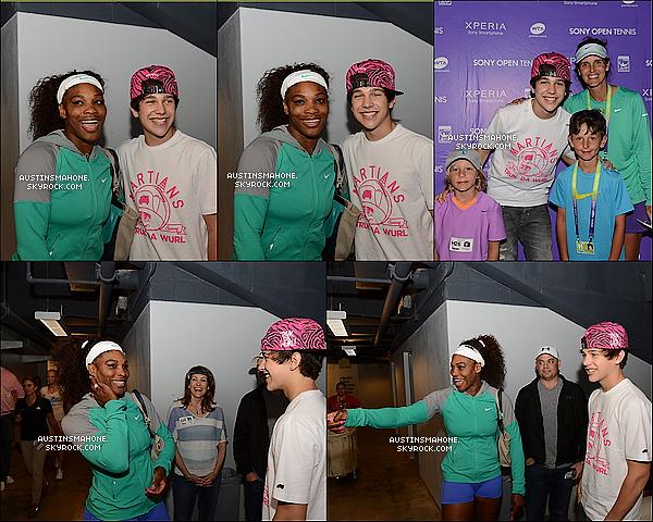 .  26.03.13 : Austinet sa maman Michele, ont assisté à un match pro de tennis de Serena Willams.  .