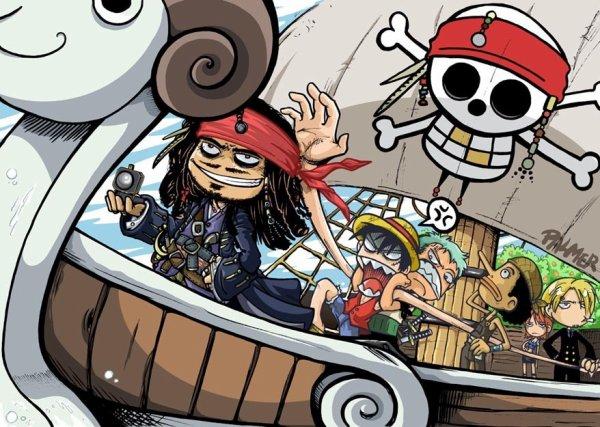 Luffy rencontre Jack Sparrow