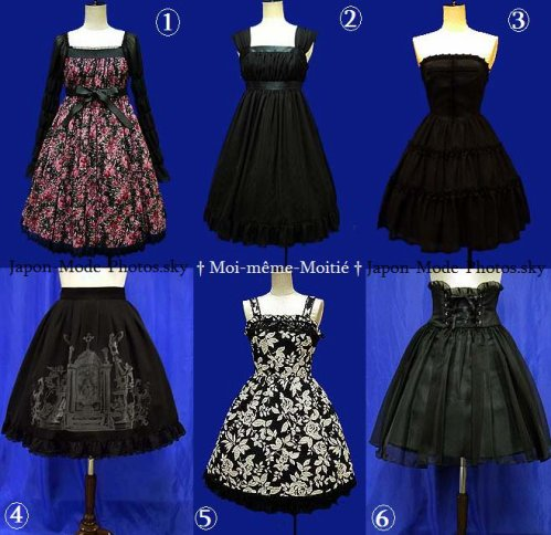 Les différentes coupes de jupes et robes dans le Lolita illustrées par la marque Moi-même-Moitié