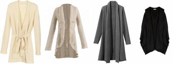 Tendance : le long gilet en laine sur la robe