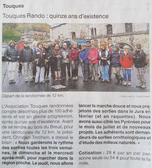 TOUQUES RANDO 15 ANS (ouest france 07/11/2017)