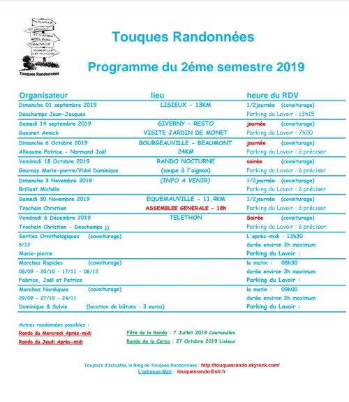 Calendrier 2019 2eme Semestre.Calendrier 2eme Semestre 2019 Association Touques Randonnees