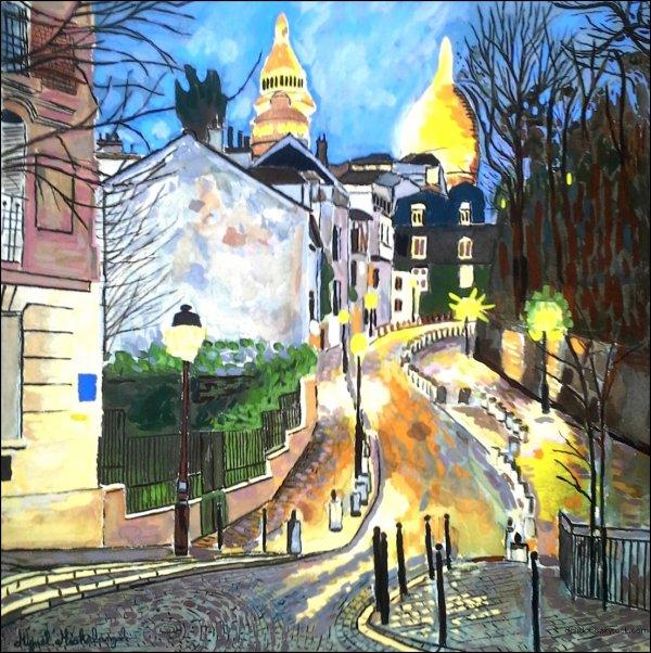 Magnifique aquarelle vue de Montmartre surprenante de la Place Dalida.