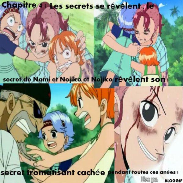 Chapitre 4 : Les secrets se révélent , le secret de Nami et Nojiko et Nojiko révéle son secret tromatisant cachée pendant toutes ces annés !