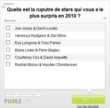 ------- Quelle est la rupture de stars qui vous aura le plus surpris en 2010 ?-------