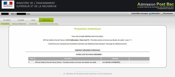 ~*~ Admission Post-Bac pour septembre 2012 ~*~