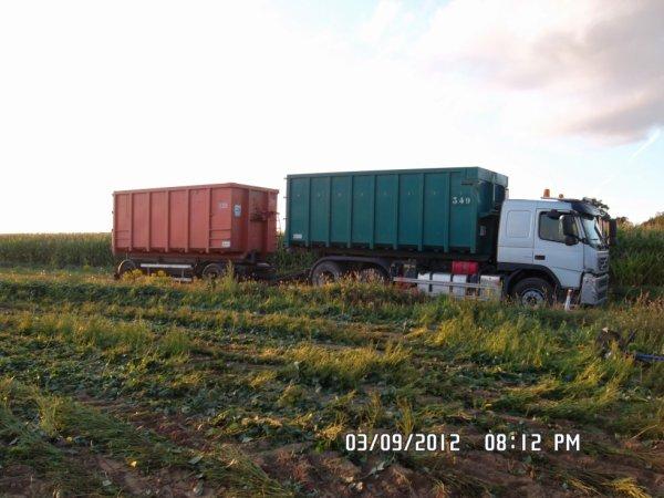 Le camion volvo au ramassage de benne d'haricots