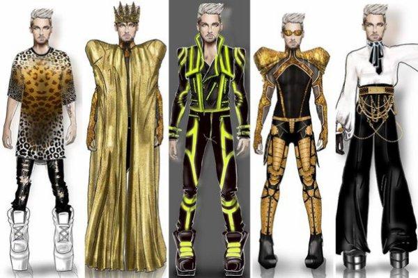 voici les croquis des costumes de Bill qu'il aura sur scène par © Marco Marco / Bill Kaulitz