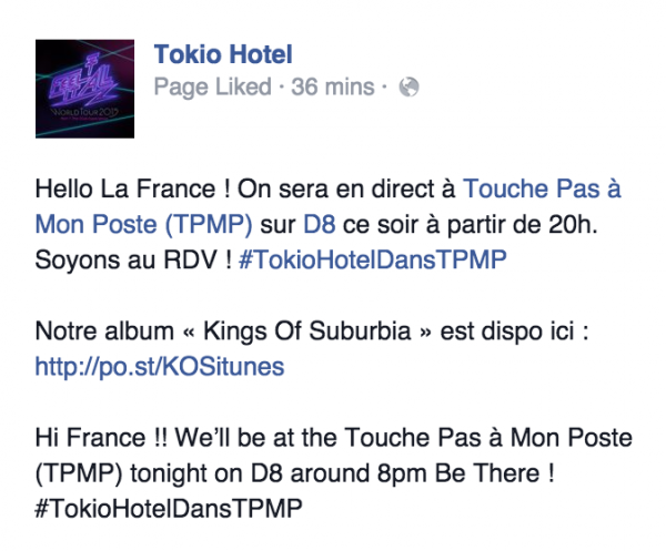 "Tokio Hotel Facebook & Twitter [10.03.2015] - ""Hi France!! We'll be at TPMP tonight on D8 around 8pm!!"""