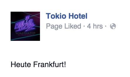"""Tokio Hotel Facebook [14.03.2015] - """"Heute Frankfurt!"""""""