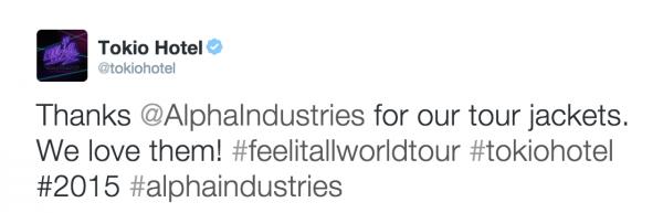 tokio hotel twitter : merci@Alphalndustries pour nos vestes. nous les aimons!