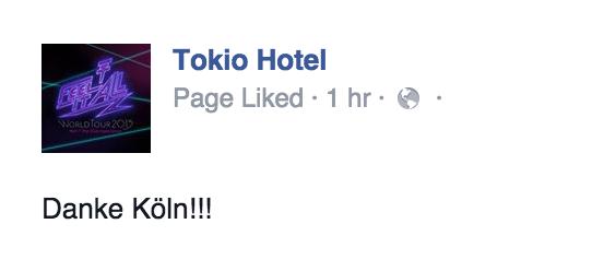 tokio hotel facebook :merci Kôln!!!