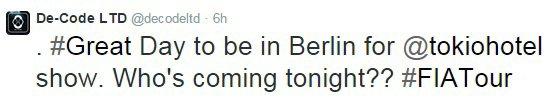 De-Code LTD - twitter (23 Mars 2015) Un grand jour d' être à Berlin pour un concert tokiohotel .  Qui va venir ce soir ??  #FIATour