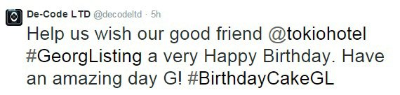 Aidez-nous souhaitons tout le meilleur pour notre meilleur ami @tokiohotel #GeorgListing .