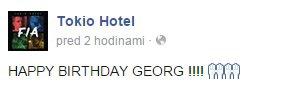 tokio hotel facebook : Joyeux anniversaire, Georg !!!! 🙌🙌