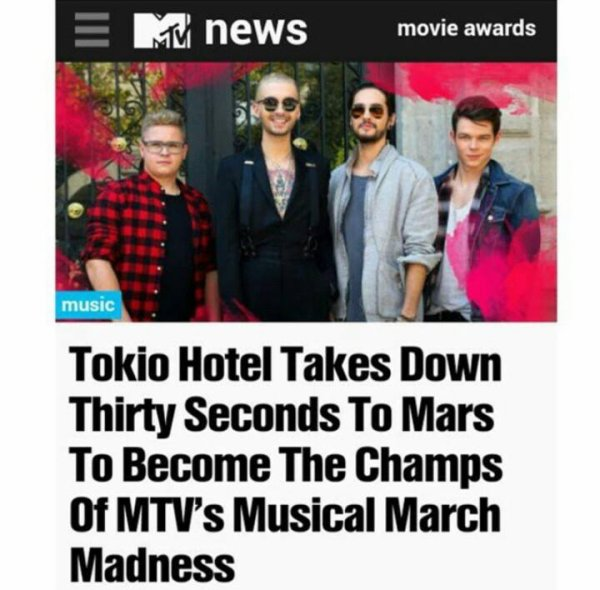 Bill Kaulitz on Instagram: Thanks again!! you guys are the best! #aliens #mtv #champs #musicalmarchmadness