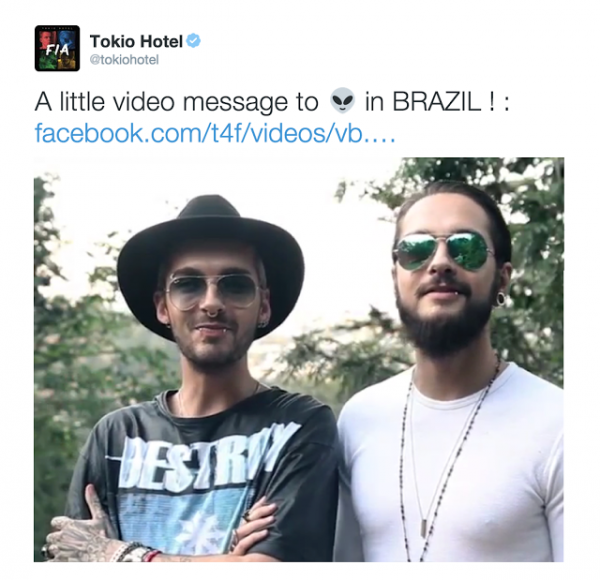 tokio hotel twitter : Bill and Tom video message for the Brazilian Aliens