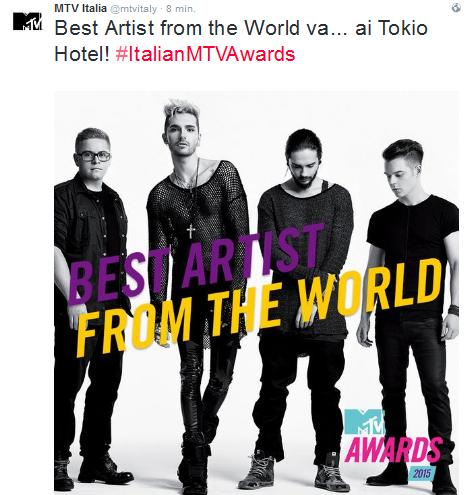 "MTV Awards: Tokio Hotel a remporté le «meilleur artiste du monde"""