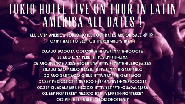 tokio hotel site : dates de la tournée Amérique Latine