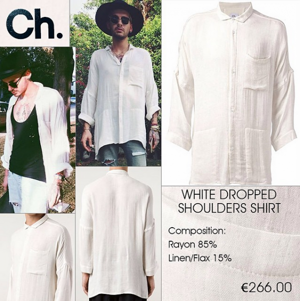 Bill Kaulitz Style || White Dropped Shoulders Shirt by Chapter [27.06.2015]