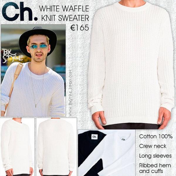 Bill Kaulitz Style || White Waffle Knit Sweater by Chapter