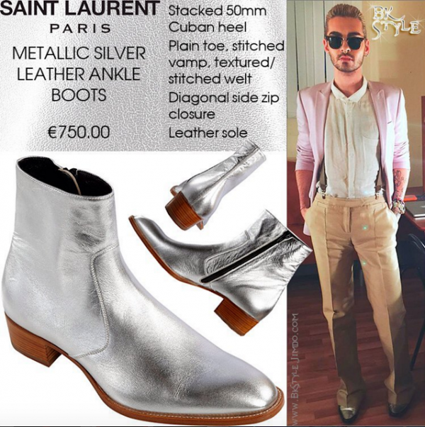 Bill Kaulitz Style || Metallic Silver Leather Ankle Boots by Saint Laurent Paris [St. Petersburg, Russia - 27.10.2015]