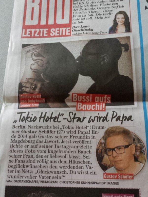 article Bild : Gustav va être papa !