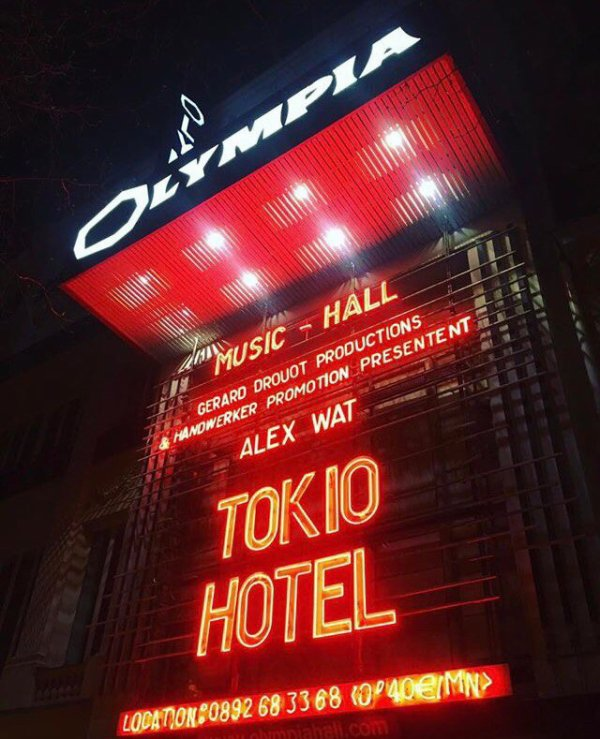 tokio hotel à l'olympia le 21 mars 2017