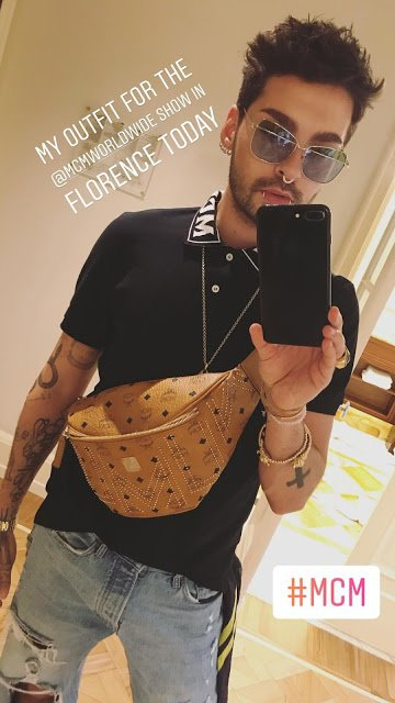 Bill Kaulitz Instagram Story iii [13.06.2018] - My outfit for the @mcmworldwide show in Florence today #MCM