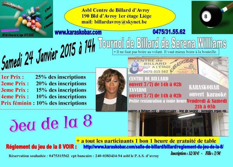 tournoi de billard de Serena Williams samedi 26/09/15 a 14h centre de billard à Liège