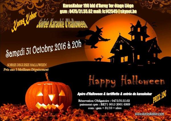 fete d'Halloween 29/10/16 au karaskobar à Liège diner & karaoké