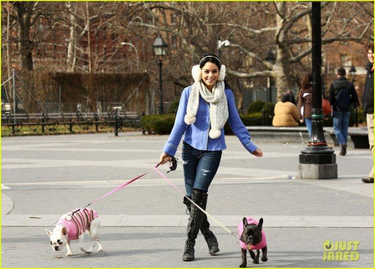 Vanessa promenant les chients d'une amie à NY